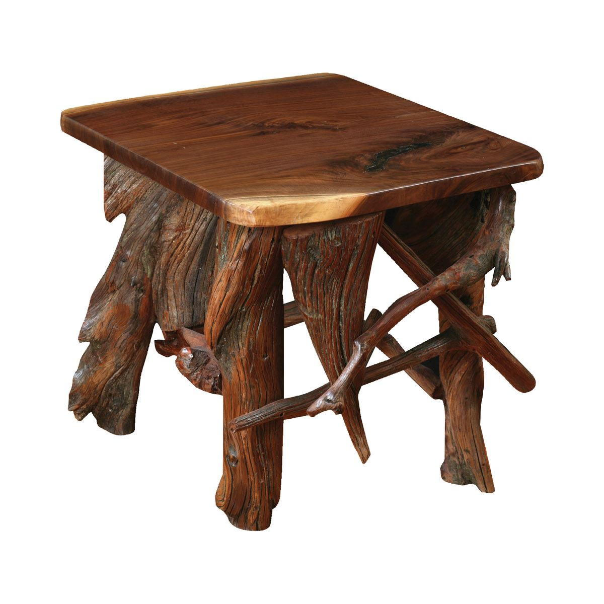 Rustic Log End Table Custom Dining Furniture Kitchen