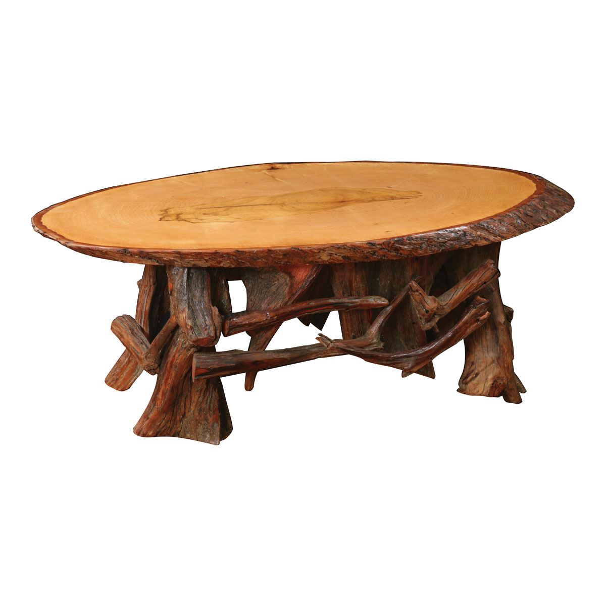 Rustic Log Oval Coffee Table Custom Dining Furniture