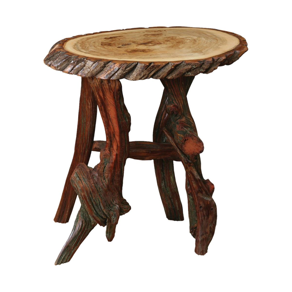 Rustic Log Oval End Table Custom Dining Furniture