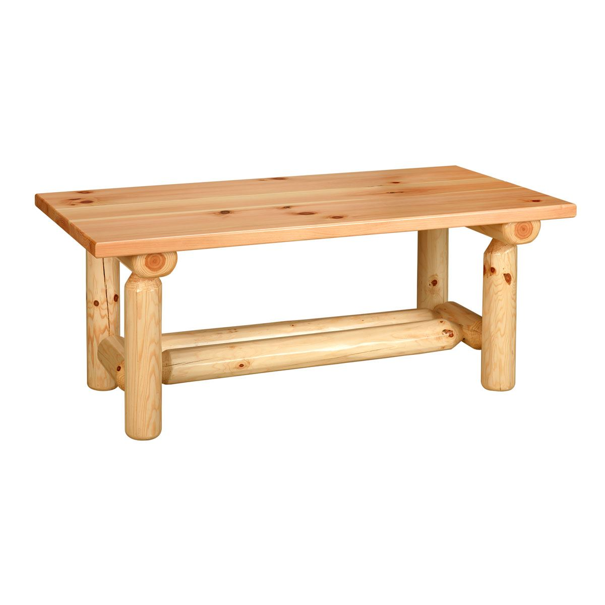 Rustic log pine coffee table custom dining furniture for Rustic coffee table