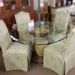 5 Piece Round Skirted Parsons Dining Set