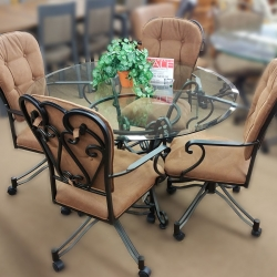 Round Glass Swivel Chair Dining Set
