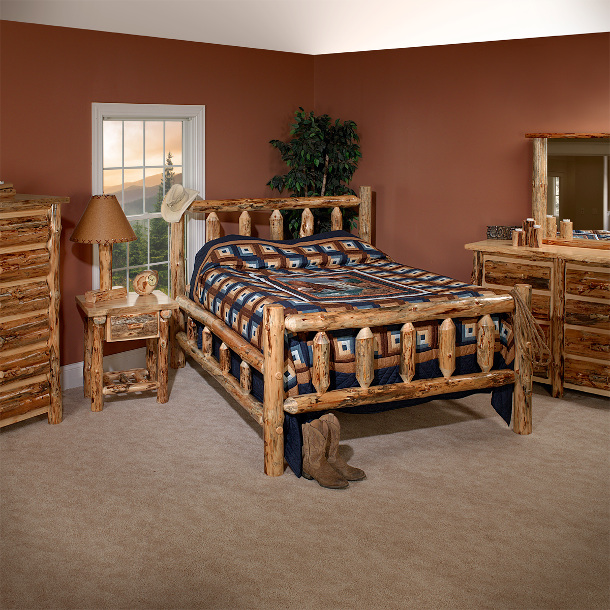 Lodge Pole Pine Bedroom Set | King Dinettes