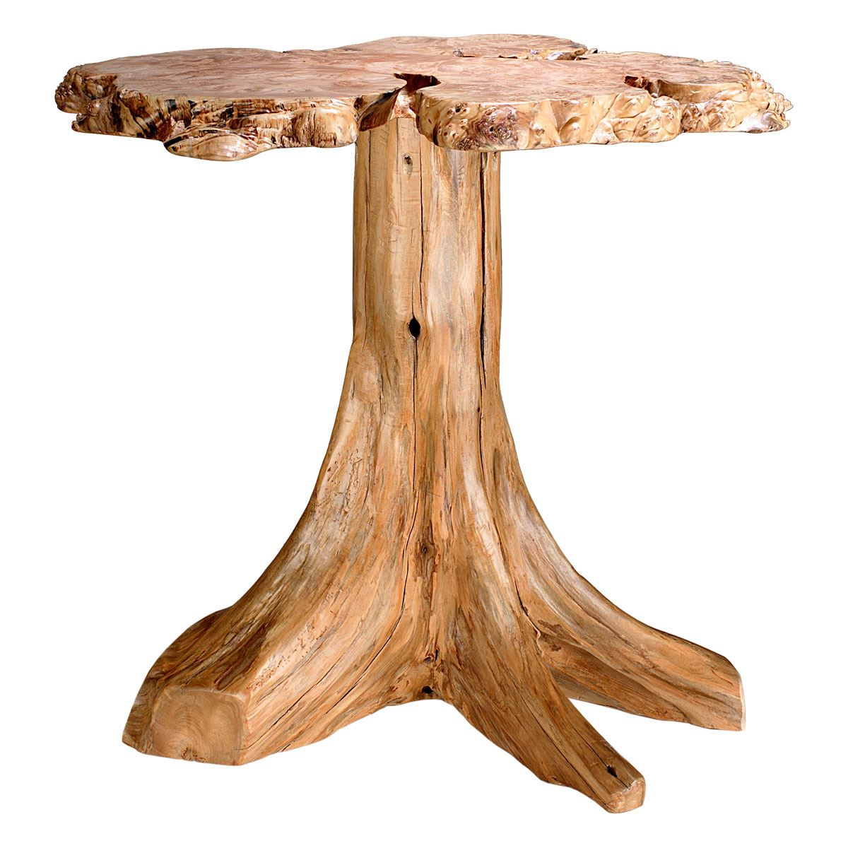 Modern rustic wood dining table - Rustic Log Burl Accent Table King Dinettes Custom Dining Furniture