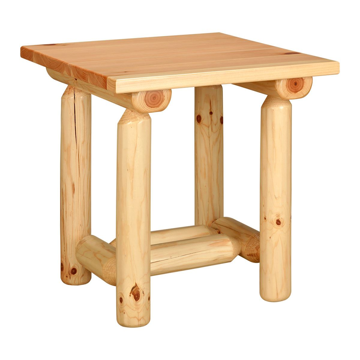 Rustic Log Pine End Table