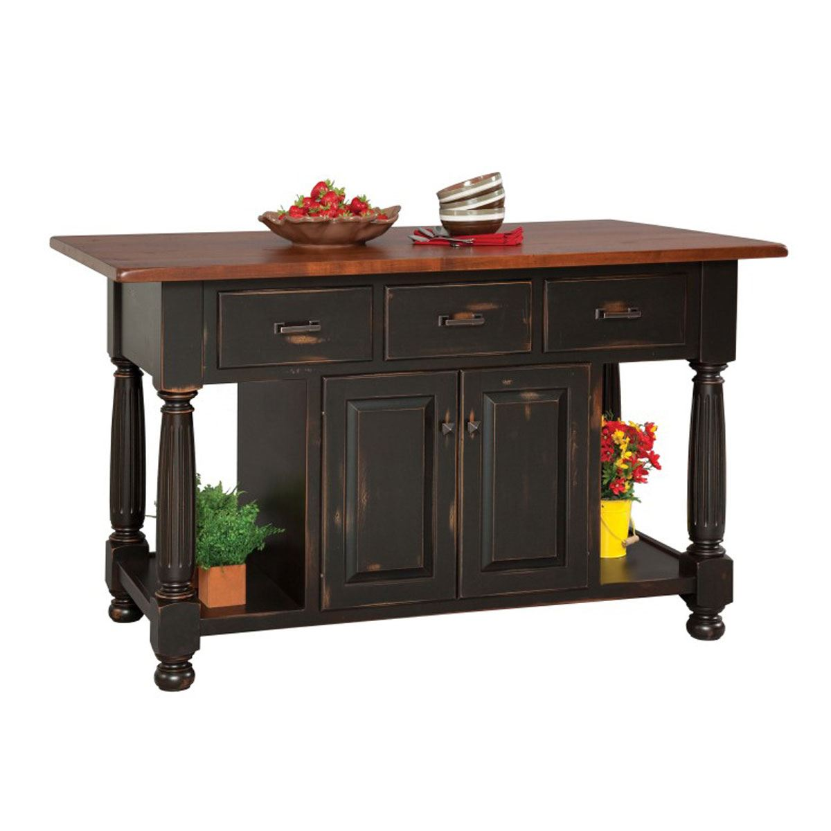 French Country Three Drawer Island